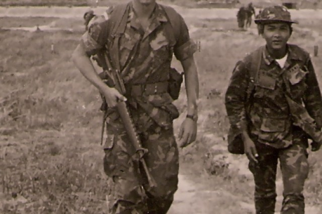 Commander of a Special Operations A-Detachment in Vietnam, then 2nd Lt. Charles C. Campbell sets out on a mission in Vietnam in 1971. Campbell is the last continuously serving officer to have seen action in Vietnam.