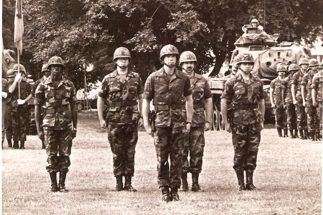 Moving up through the ranks, then Maj. Charles C. Campbell takes his place in front of the battalion he commanded in 1981.