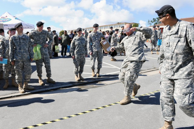 """PRESIDIO OF MONTEREY, Calif. - The 229th Military Intelligence Battalion featured a sobriety test using """"fatal vision"""" goggles that mimic a drunk person's vision."""