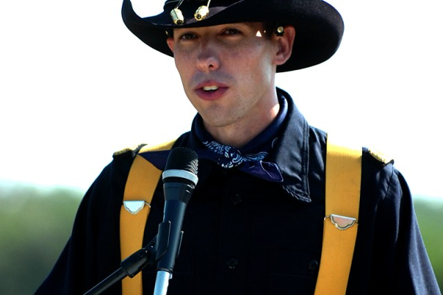 FORT HOOD, Texas-Capt. David Jackson, of Jacksonville, Texas, takes the reins of the 1st Cavalry Division's Horse Cavarly Detachment, here, May 27. Jackson takes over command from Capt. Jay Bunte.