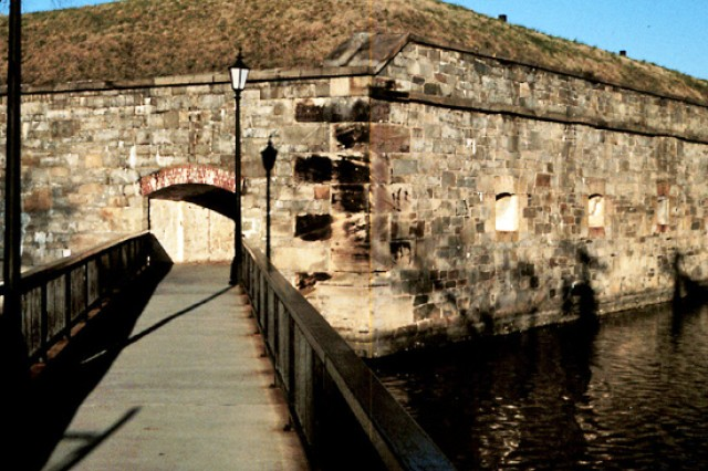 An entrance to Fort Monroe's casemate crosses the moat built by 2nd Lt. Robert E. Lee. When the post closes next year, the plan is to convert it into a national historic park.