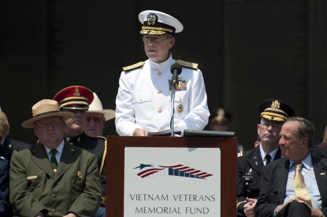Adm. Mike Mullen, chairman of the Joint Chiefs of Staff addresses audience members at the annual Memorial Day Observance Ceremony at the Vietnam Veterans Memorial in Washington, D.C., on May 31, 2010. Mullen gave the keynote address and recognized the addition of six new names to the over 58,000 servicemembers who perished in that war.