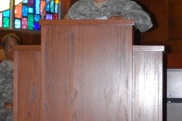FORT HOOD, Texas-Lt. Col. Leafaina Yahn, deputy brigade commander for the 1st Battalion, 20th Infantry Brigade and originally from America Samoa, speaks at the Asian/Pacific Heritage. Yahn moved here from the islands as a teenager and graduated the United States Military Academy in 1989 and commissioned as a second lieutenant.
