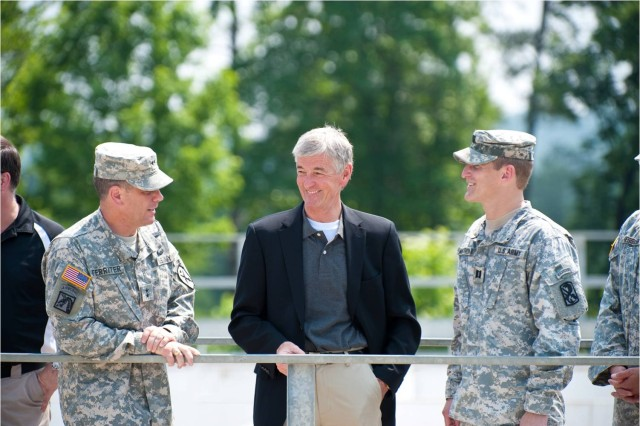 John McHugh, Secretary of the Army, visits with Maj. Gen. Michael Ferriter during his first official visit June 2 to Fort Benning.