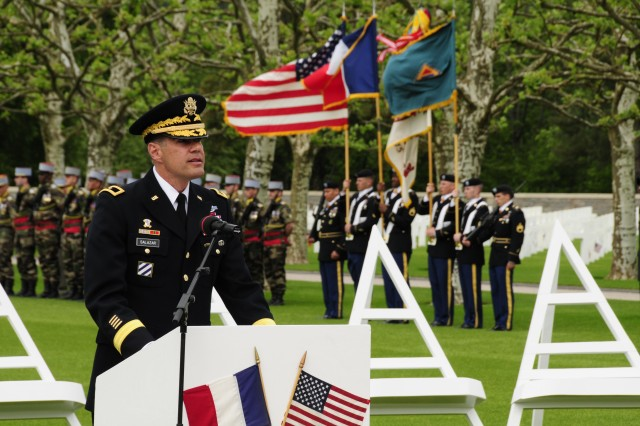 Brig. Gen. Steven Salazar, commanding general of the 7th  U.S. Army Joint Multinational Training Command, delivers his memorial tribute at the Epinal American Cemetery and Memorial during a Memorial Day service May 30 in Epinal, France.