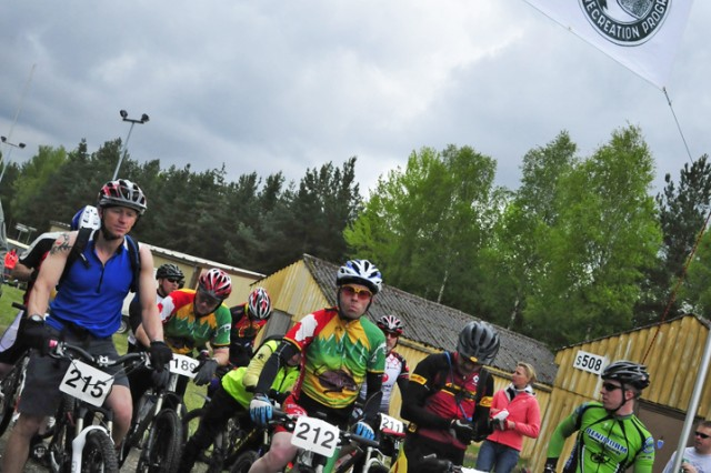 GRAFENWOEHR, Germany - Mountain bicyclists await the starting gun as they prepare to compete in the 2010 IMCOM-E Mountain Bike Series in Grafenwoehr, Germany.