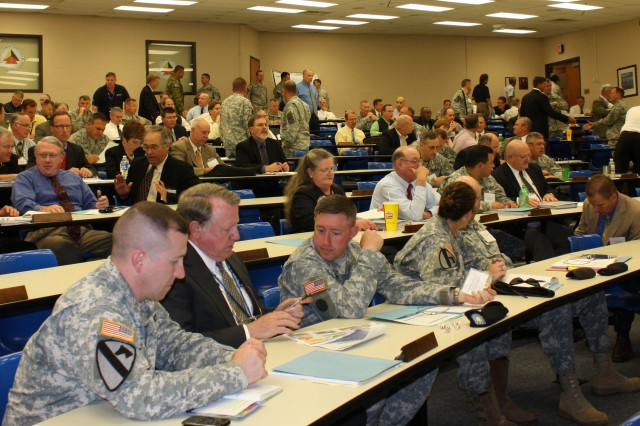 Representatives from the Department of the Army, FORSCOM, TRADOC HQ, schools and Centers of Excellence shared thoughts and ideas during the ArmyAca,!a,,cs first-ever Integrated Training Environment Summit.