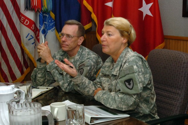 Gen. Ann E. Dunwoody, commanding general, U.S. Army Materiel Command, discusses the  current status of 25th Infantry Division units with Maj. Gen. Bernard S. Champoux, commanding general, 25th Inf. Div., and division subordinate commanders at division headquarters during her visit of Schofield Barracks June 8.