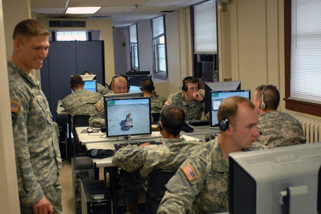 Soldiers from 1st Squadron Cavalry Regiment, 525th Battlefield Surveillance Brigade prepare for their upcoming deployment using the Virtual Battlefield Simulator 2. They will be the first unit in the Army to deploy with the computer battlefield simulation.