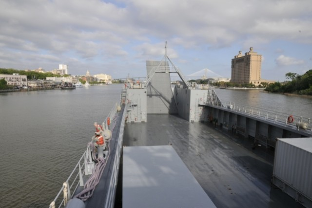 The LSV-1 arrives to Savannah, Ga. the morning of April 30. The crew and students from MWOBC receive a welcomed stop to re-supply and re-coup after four days of celestial navigation at sea. Two days later the boat was ready to return to Fort Eustis. The last day of the course before arriving to 3rd Port the students familiarize themselves with terrain navigation.