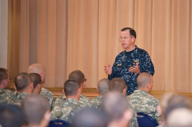 Adm. Mike Mullen addresses a forum June 4 of more than 200 basic trainees, OSUT Soldiers and their cadre at Sand Hill.