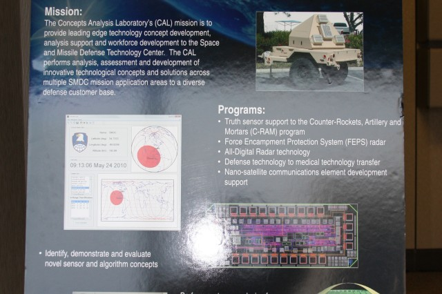 An overview poster describing the Concepts Analysis Lab missions welcomed visitors to the open house.