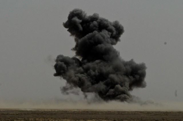 Explosive ordnance training ends with explosive results as 1st Bomb Disposal Company, 14th Iraqi Army Division at the Normandy Range located in Basra, Iraq, detonated one thousand pounds of explosives.