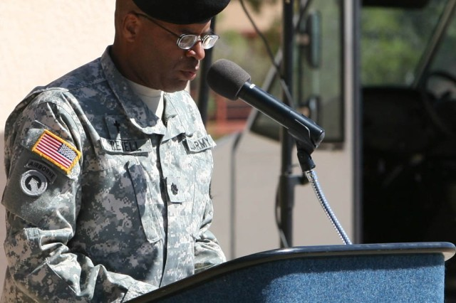 Chaplain (Lt. Col.) Kenneth Revell, Fort Huachuca installation chaplain, offers the invocation during Fort Huachuca's celebration of the Army's 235th birthday, today.