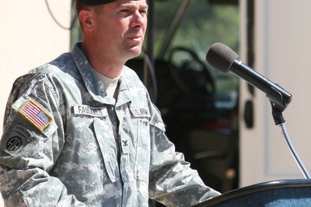 Col. Timothy Faulkner, garrison commander, Fort Huachuca, speaks to attendees during today's Army birthday celebration at Fort Huachuca's museum.