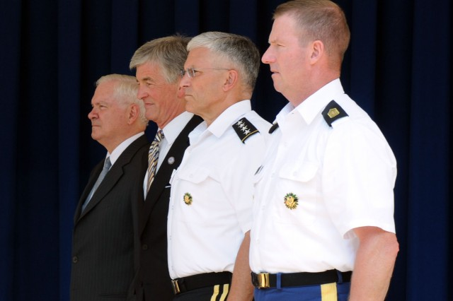 Defense Secretary Robert Gates, left, Army Chief of Staff Gen. George W. Casey, Jr. , Army Secretary John McHugh, and Sergeant Major of the Army Kenneth O. Preston stand for the recital of the Soldier's Creed during the cake-cutting ceremony celebrating the 235th Army Birthday, June 14, 2010, at the Pentagon.  U.S. Army photo by Staff Sgt. Matthew Clifton.