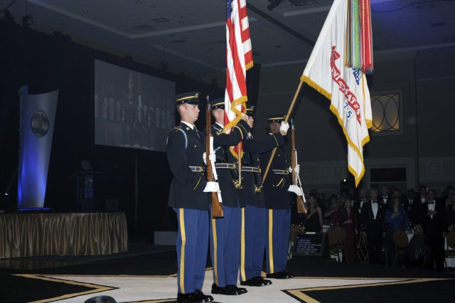 The Army Color Guard from The 3rd U.S. Infantry Regiment, The Old Guard presents the colors at the Army Birthday Ball on June 12, 2010.
