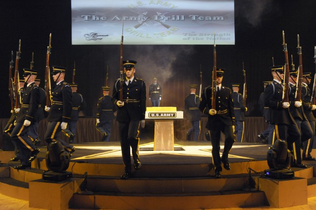 The U.S. Army Drill Team presents the Army Birthday cake at the Army Birthday Ball on June 12, 2010.