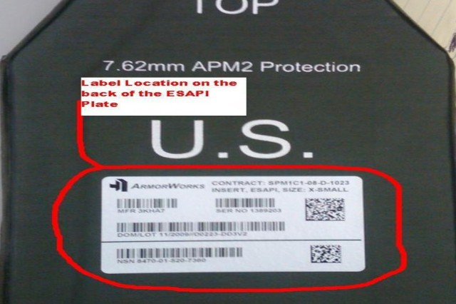 To identify if your ESAPI plate needs to be replaced, look for the contract number and design code on the back of the plate.