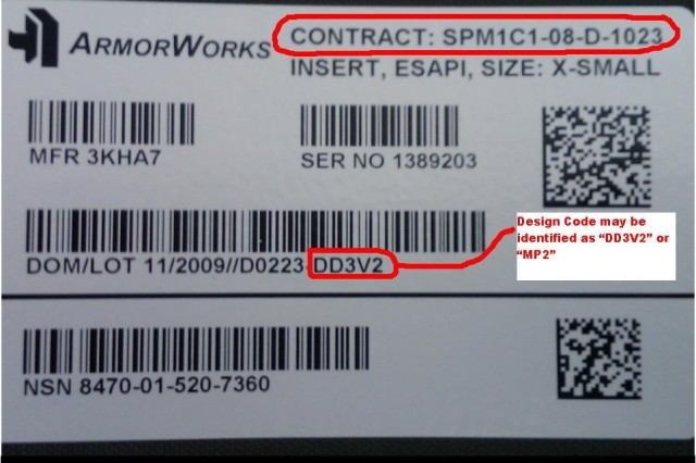 Every ESAPI plate that needs to be replaced will have the contract number SPM1C1-08-D-1023, and one of two design codes: DD3V2 or MP2.