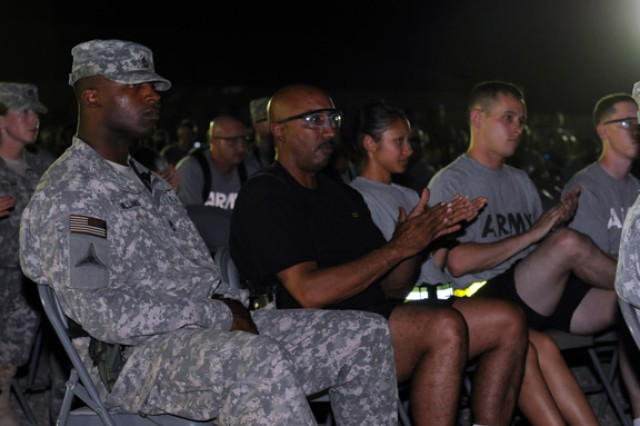BAGHDAD - Soldiers applaud following a speech given by Maj. Gen. Terry Wolff, commanding general of United States Division - Center, about the Army's history June 14 during its 235th birthday. (U.S. Army photo by Spc. Daniel Schneider, 366th MPAD,