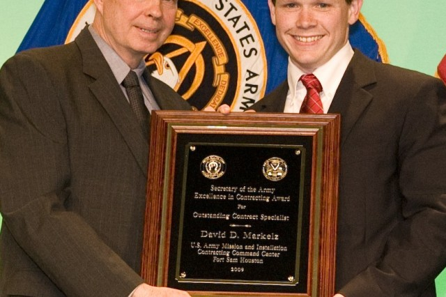 David Markelz, MICC, Fort Sam Houston, was presented with the Outstanding Contract Specialist Award.