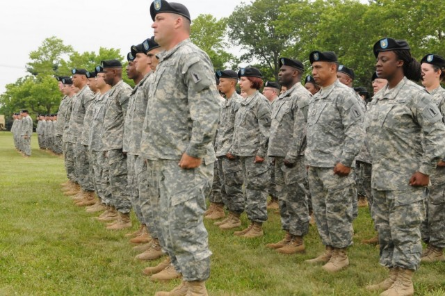 FORT DIX, N.J. – Soldiers of the 77th Sustainment Brigade stand at attention during the Assumption of Command ceremony at Sharpe Field here June 12. Fort Dix, N.J. The mission of the 77th Sust. Bde. is to plan, prepare, execute and assess CSS operations within a corps or theater area of operation in order to support Joint, Inter-agency and Multinational forces as required. (U.S. Army photo by Sgt. 1st Class Jose Gonzalez, 77th Sustainment Brigade Unit Public Affairs Representative)