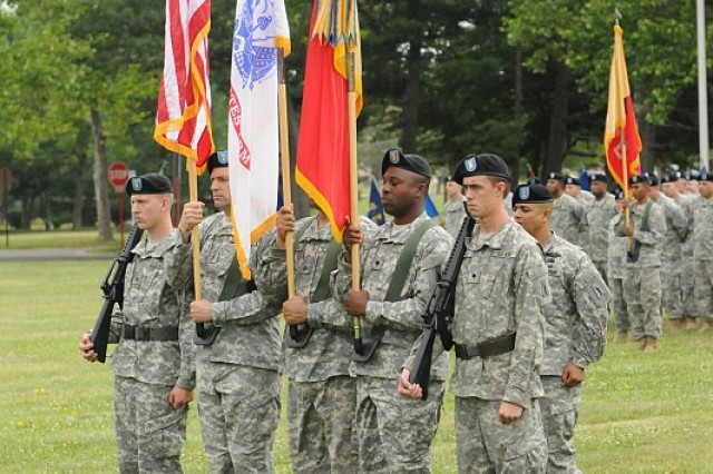 FORT DIX, N.J. – Soldiers of the 77th Sustainment Brigade participate as part of the color guard during the Assumption of Command ceremony at Sharpe Field here June 12. The mission of the 77th Sust. Bde. is to plan, prepare, execute and assess CSS operations within a corps or theater area of operation in order to support Joint, Inter-agency and Multinational forces as required. (U.S. Army photo by Sgt. 1st Class Jose Gonzalez, 77th Sustainment Brigade Unit Public Affairs Representative)