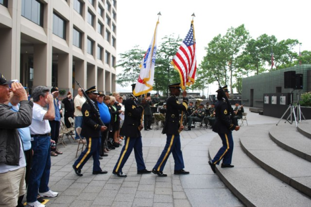 An Army Color Guard from New York City Recruiting Battalion posts the colors at the start of the Army Birthday Concert at the Vietnam Veterans Memorial Plaza June 14. (U.S. Army photo by Harry Sarles, OCPA-Northeast)