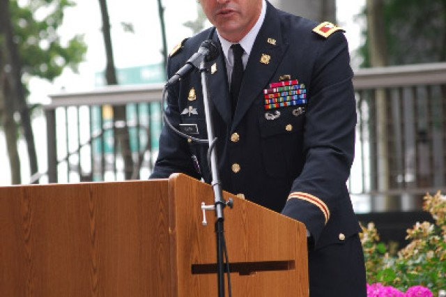 Fort Hamilton Garrison Commander Col. Stephen V. Smith gives his remarks during an Army Birthday Concert at the Vietnam Veterans Memorial Plaza June 14. (U.S. Army photo by Harry Sarles, OCPA-Northeast)