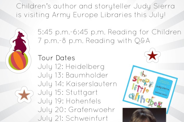 """Army Europe Libraries continues its """"Conversations"""" series in July with Judy Sierra, best-selling and beloved children's book author of Wild About Books and The Sleepy Little Alphabet."""