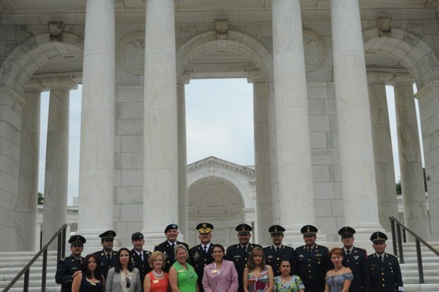 The Fifth Army Inter-American Relations Program Group pose for a picture during their visit to Arlington National Cemetery on June 15, 2010.