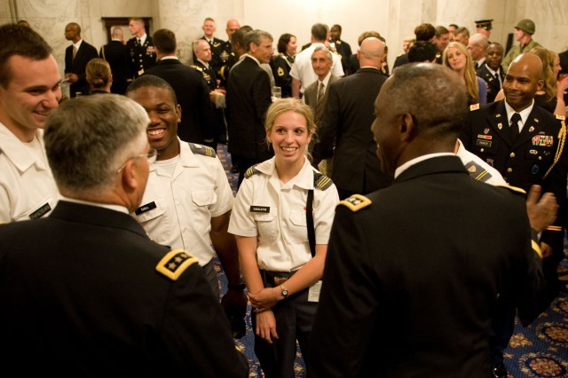 "West Point cadets talk with Chief of Staff of the Army Gen. George W. Casey Jr. and Gen. William ""Kip"" Ward, commander of U.S. Africa Command, at the Army's 235th birthday ceremony on Capitol Hill in Washington, D.C., June 15, 2010."