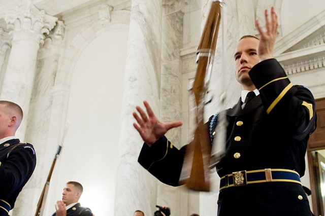 Soldiers of the Old Guard drill team perform during the Army's 235th birthday ceremony on Capitol Hill in Washington, D.C., June 15, 2010.