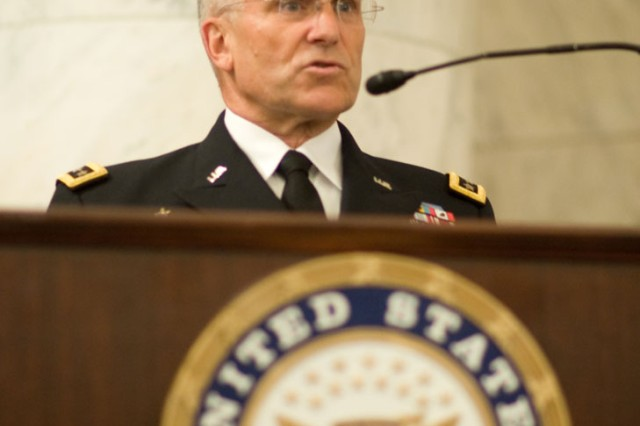 Chief of Staff of the Army Gen. George W. Casey Jr. addresses the audience of the Army's 235th birthday ceremony on Capitol Hill in Washington, D.C., June 15, 2010.