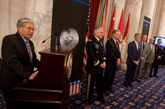 Sen. Daniel Akaka (D-HI) addresses the audience of the Army's 235th birthday ceremony on Capitol Hill in Washington, D.C., June 15, 2010.