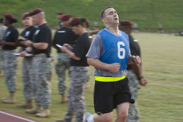 FORT BRAGG, N.C. - Giving his all is Spc. Colin O'Neil, a Soldier with the 443rd Civil Affairs Battalion out of Warwick, R.I., as he finished the 2-mile run category here on June 15 as part of this year's U.S. Army Civil Affairs and Psychological Operations (Airborne) Best Warrior competition. O'Neil and 13 other Soldiers and Noncommissioned Officers from across the nation are competing to take home this year's Best Warrior of the Year Soldier or NCO category. The 443rd CA Battalion is a subordinate unit under the 353rd Civil Affairs Command, which is under USACAPOC(A). The overall command is comprised of nearly 12,000 Soldiers in 67 units across 31 states and Puerto Rico. USACAPOC(A) is five percent of the U.S. Army Reserve Command's force and is responsible for approximately 20 percent of the Army Reserve deployments.