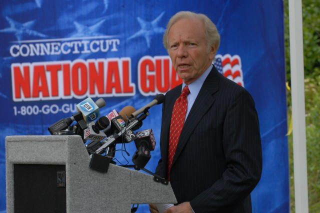 U.S. Senator Joe Lieberman, U.S. senator for Connecticut speaks at the Middletown Armed Forces Reserve Center Ground Breaking Ceremony in Middletown, Connecticut. The AFRC is scheduled to be home to Soldiers from the Army Reserves 2200th Military Intelligence Detachment, 439th Quartermaster Company, 395th Combat Sustainment Support Battalion, 344th Military Police Company and 617th Quartermaster Detachment, as well as the Connecticut National Guards 143rd Area Support Group, 118th Medical Battalion, 141st Medical Company, Bravo and Delta Companies, 1st Battalion, 102nd Infantry, and the Statewide Human Resources Office. (Photo by Staff Sgt. Alyn-Michael Macleod)