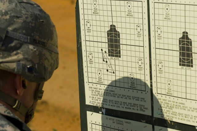 Staff Sgt. Patrick Easley from the 415th Civil Affairs Battalion studies his shot groups to determine what adjustments he needs on his M16A2 on Range 43 here June 15, prior to qualifying for the command's annual Best Warrior Competition. The U.S. Army Civil Affairs and Psychological Operations (Airborne)'s annual Best Warrior Competition host 14 Soldiers and Noncommissioned Officers from across the nation to compete for this year's Best Warrior of the Year Soldier and NCO category. USACAPOC (A) is roughly five percent of the U.S. Army Reserve Command's force and is responsible for around 20 percent of the Arm Reserve deployments. The command is comprised of nearly 12,000 Soldiers in 67 units across 31 states and Puerto Rico.