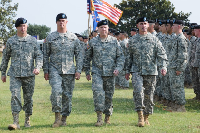 First Bn., 13th Avn. Regt. incoming Commander Lt. Col. Darren Cox, outgoing Commander Lt. Col. Shawn Prickett, Executive Officer Maj. Christopher Yuskaitis and 1st Avn. Bde. Commander Col. Kenneth Biland inspect troops during a change of command ceremony June 15 on Fort Rucker's Howze Field.