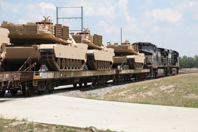 Seven M1A2 Abrams tanks christened the new rail spur on the Ordnance Campus at Fort Lee June 10. This was the first time the tracks have been used to move cargo by rail onto the post.  The tanks started their trek from Fort Hood, Texas, and will be used to train Ordnance Soldiers how to repair and maintain the units.  Future use of the rail spur will include transporting Soldiers between Forts Lee and A.P. Hill for training and moving cargo more efficiently and economically.