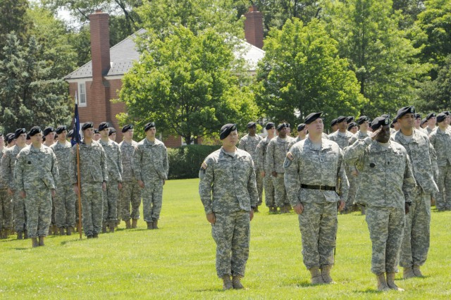 Sgt. Maj. Reginald Cooper, incoming Command Sgt. Maj. for 4th Battalion, 3d Infantry Regiment, moves forward to take responsibility of the unit at the conclusion of the Change of Responsibility ceremony at Summerall Field on Fort Myer, Va., June 17.