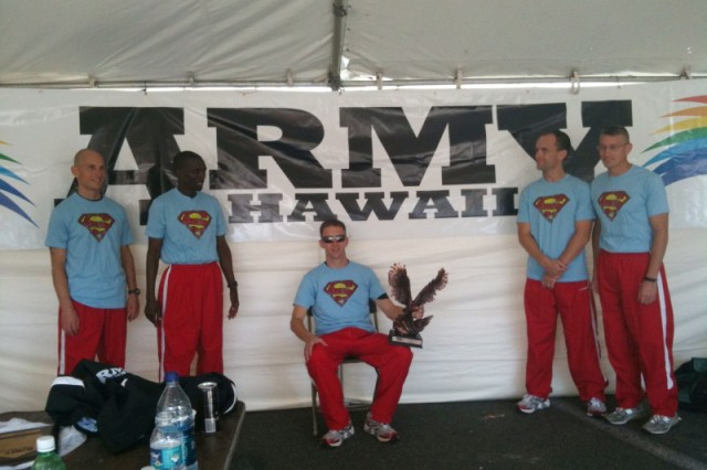 WASHINGTON - Qualifying athletes pose after running great times in the 3rd Annual 10 Mile Race Around Wheeler, a time trial to determine members of Team Hawaii for the U.S. Army Ten-Miler later this year. Pictured are (left to right) Capt. John Mozer, Sgt. Sammy Ngatia, Sgt. 1st Class Paul Lancaster, Capt. Shawn Dodge and Lt. Col. Marty Muchow.