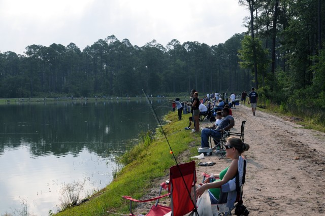Nearly 300 children with parents lined the banks of Fort Stewart's Pond #30 for a Kids Fishing Rodeo, June 12.