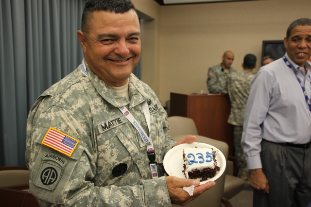 Sgt. Maj. John Mattie shows that his Army pride extends even to the little sweet things in life.