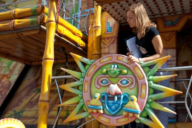 Chiara Chelossi, USAG Livorno Safety specialist, makes sure carnival rides meet Italian and American safety standards before enjoyed by the public.