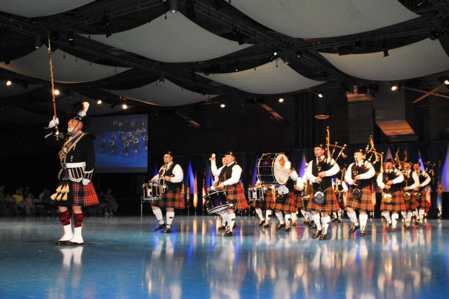 The City of Washington Pipe Band perform in The Old Guard Fife and Drum Corps Anniversary Tattoo at Conmy Hall, Joint Base Myer- Henderson Hall on June 19.