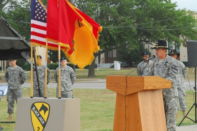 FORT HOOD, Texas- Maj. Gen. Daniel Allyn speaks to a group of 40 infantrymen who received their Expert Infantryman Badges after a week of testing, here, June 18.