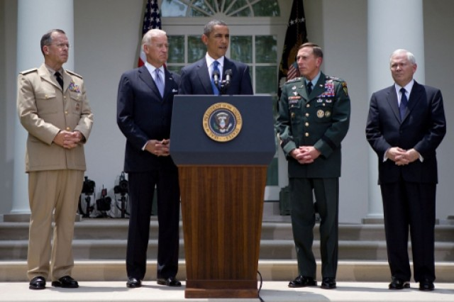 President Barack Obama announces that he has accepted Gen. Stanley A. McChrystal's resignation from his post as the top NATO and U.S. commander in Afghanistan and that he is nominating Gen. David H. Petraeus, commander of U.S. Central Command, to replace him. Left to right, Chairman of the Joint Chiefs of Staff Navy Adm. Mike Mullen, Vice President Joe Biden, Petraeus, and Defense Secretary Robert M. Gates accompanied Obama in the Rose Garden.