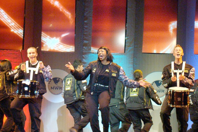 Soldier Show cast members entertained in a number of ways  throughout the show, including chorus lines, stepping and skits.